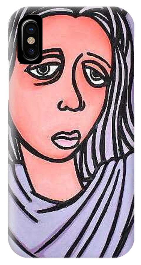 Portrait IPhone X / XS Case featuring the painting Unknown by Thomas Valentine