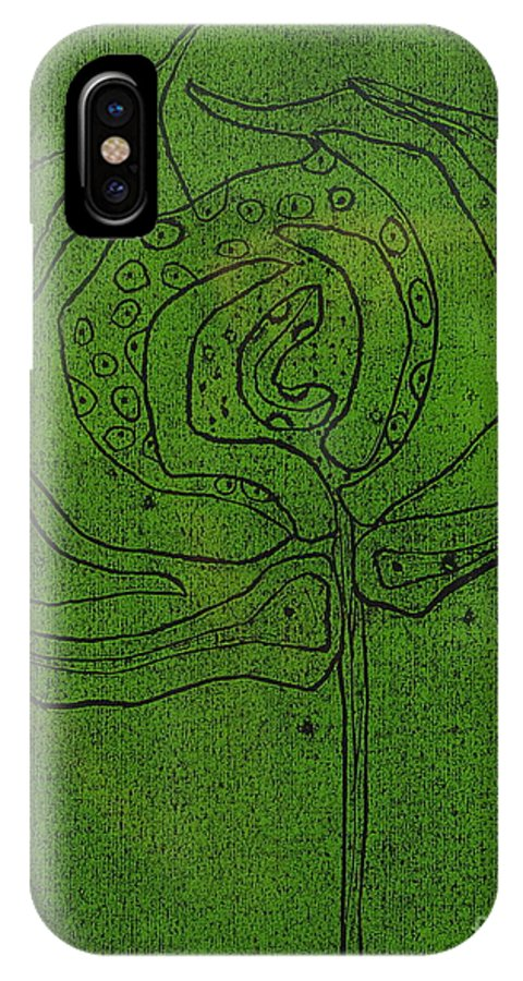 Green IPhone X Case featuring the painting Untitled by Angela Dickerson