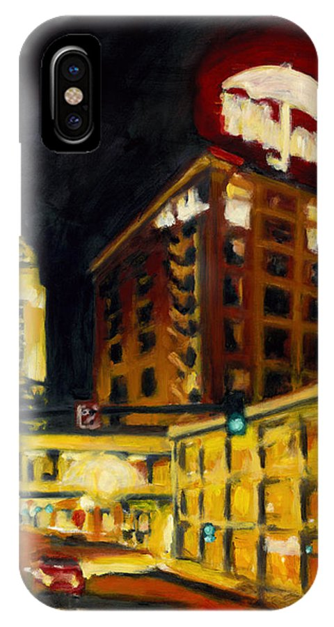 Rob Reeves IPhone X / XS Case featuring the painting Untitled In Red And Gold by Robert Reeves