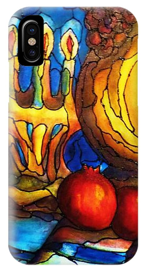 Original Art IPhone X Case featuring the painting Still Life with Grapes and Pomegranates by Rae Chichilnitsky
