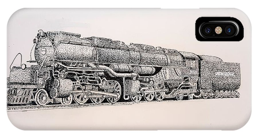 Train IPhone X Case featuring the drawing Up 3985 by Bruce Holder