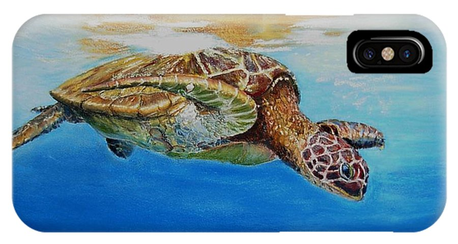 Wildlife IPhone X Case featuring the painting Up For Some Rays by Ceci Watson