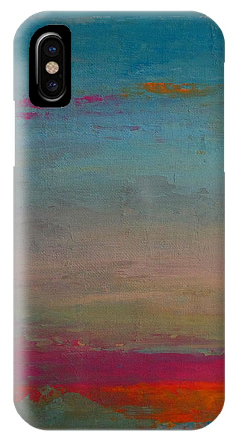 Acrylic Paint IPhone X Case featuring the painting Up There by Tania Greer