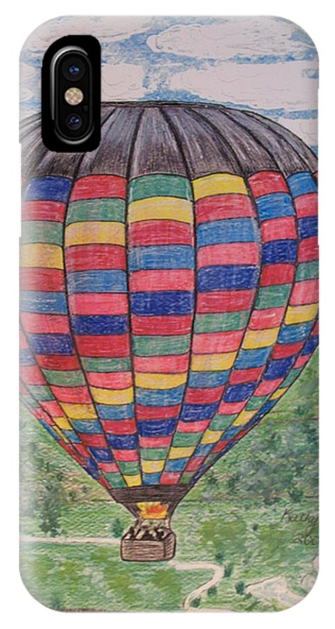 Balloon Ride IPhone X / XS Case featuring the painting Up Up And Away by Kathy Marrs Chandler