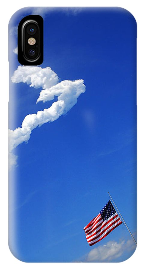 Science IPhone X Case featuring the photograph Up Up To The Sky - The Shuttle Is Gone by Susanne Van Hulst