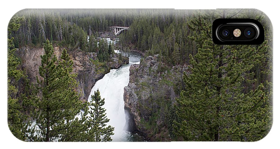 Yellowstone National Park IPhone X Case featuring the photograph Upper Yellowstone Falls by Linda Kerkau