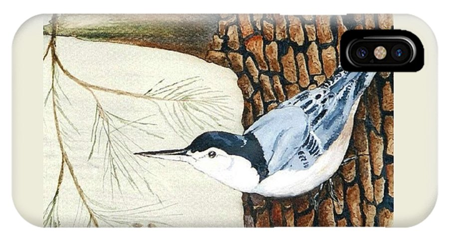 Nuthatch IPhone X Case featuring the painting Upside Down by Debra Sandstrom