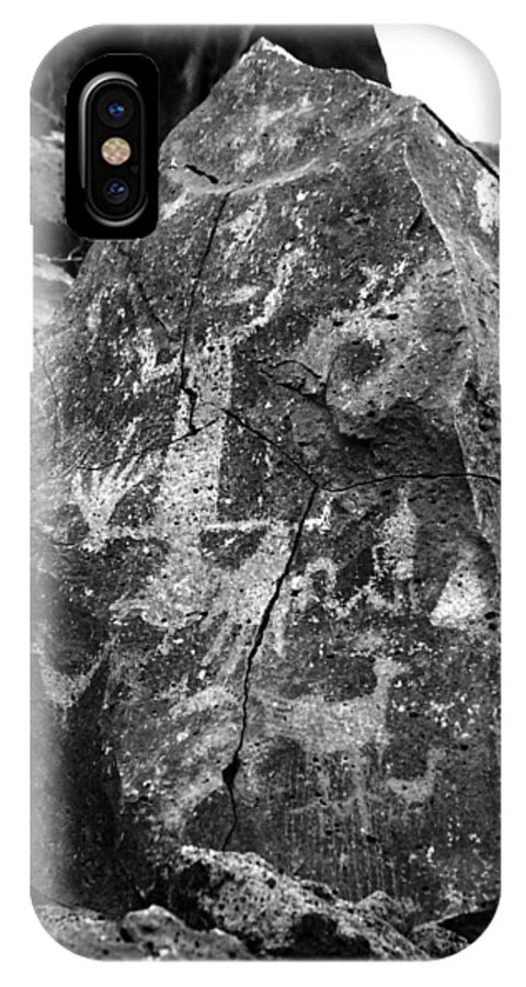 Petroglyphs IPhone X Case featuring the photograph Upside Down Man B/w by Glory Ann Penington