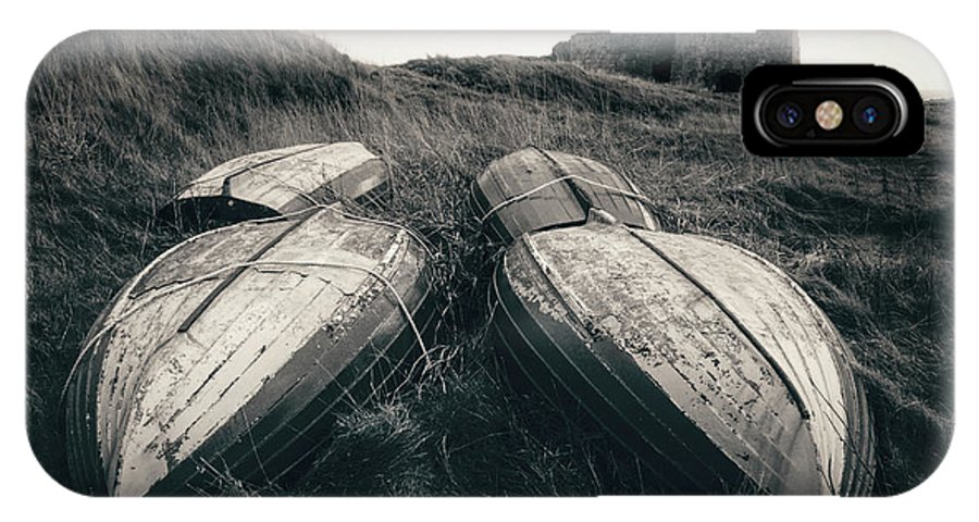 Boddin Point IPhone X Case featuring the photograph Upturned Boats by Dave Bowman