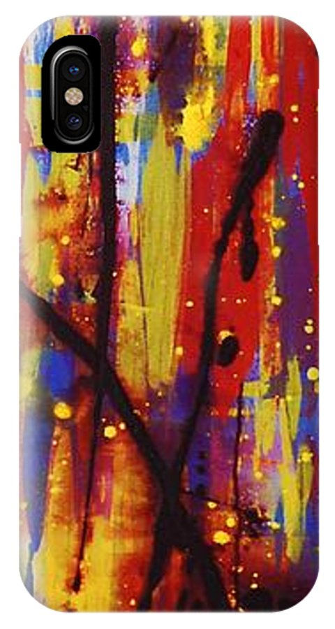 Abstract IPhone X Case featuring the painting Urban Carnival by Lauren Luna