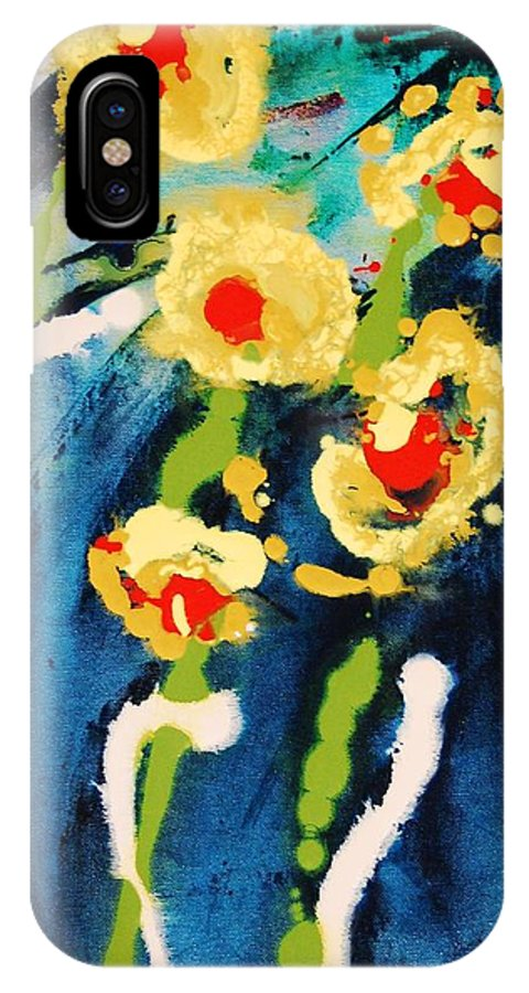 Abstract IPhone X Case featuring the painting Urban Garden by Lauren Luna