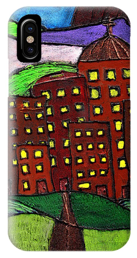 City Scape IPhone X Case featuring the painting Urban Legand by Wayne Potrafka