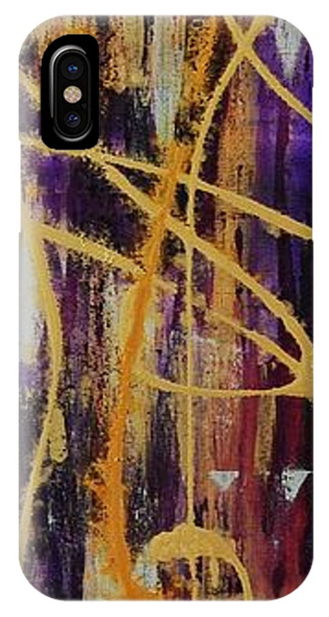 Abstract IPhone X Case featuring the painting Urban Royality by Lauren Luna