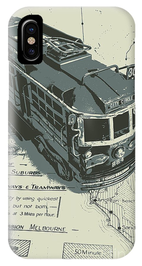 Tram IPhone X Case featuring the photograph Urban Trams And Old Maps by Jorgo Photography - Wall Art Gallery