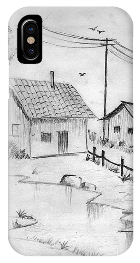 Pencil Drawing IPhone Case featuring the painting Urbanisation Of Villages - Gaon Chale Shahr Ki Oar by Tanmay Singh