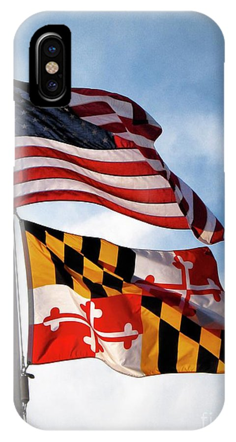 Flag IPhone X Case featuring the photograph Us And Maryland Flags by William Kuta