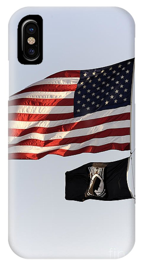 Flag IPhone X Case featuring the photograph Us And Pow-mia Flags by William Kuta
