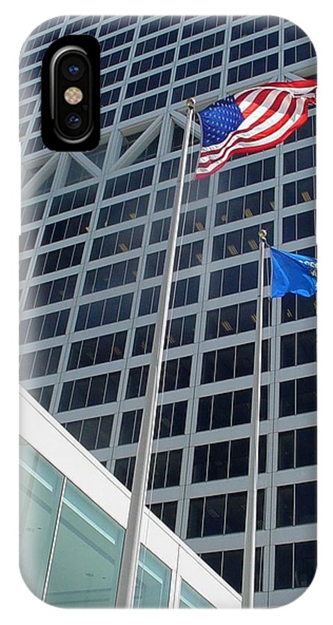 Us Bank IPhone X Case featuring the photograph US Bank with flags by Anita Burgermeister