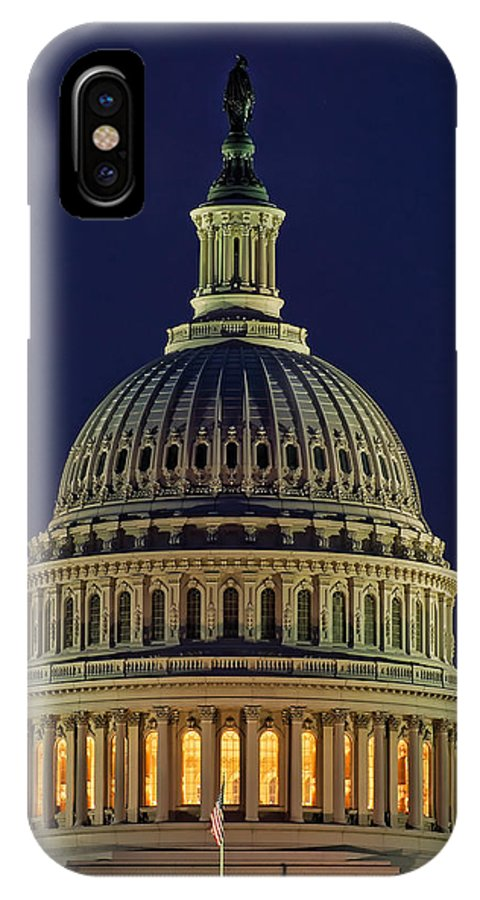 America IPhone X Case featuring the photograph U.s. Capitol At Night by Nick Zelinsky
