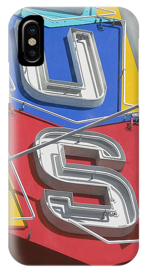 Sign Neon Pasadena Surplus Retro Lettering Nostalgia Advertising California IPhone X Case featuring the painting US by Michael Ward