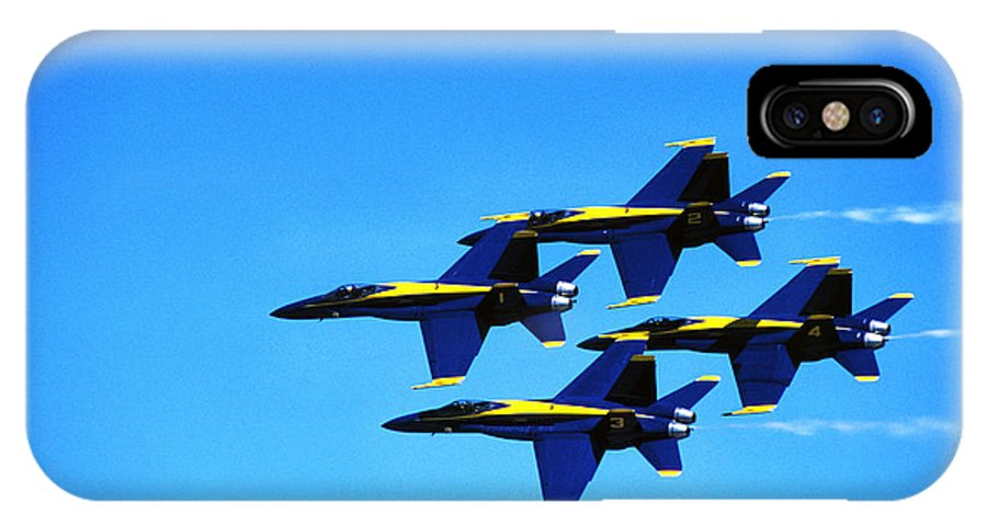 Us Navy Blue Angels IPhone X Case featuring the photograph Us Navy Blue Angels Flight Demonstration Team In Fa 18 Hornets by Thomas R Fletcher