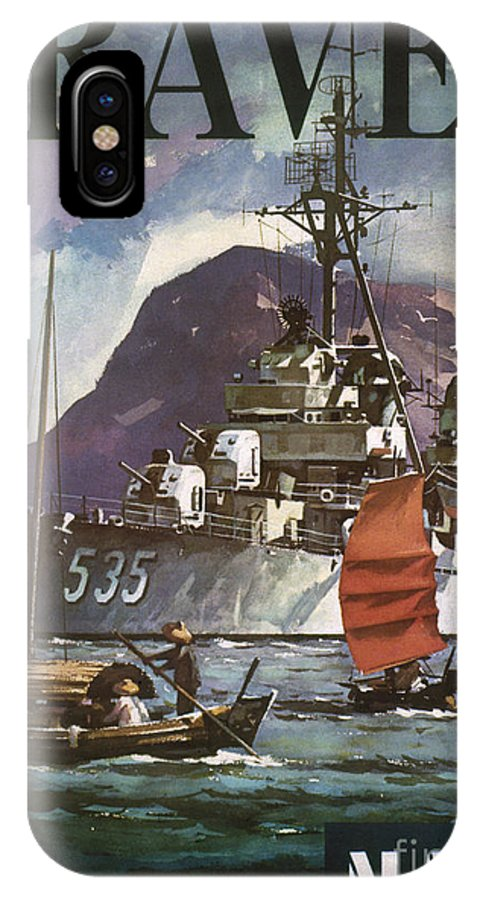 1930s IPhone X Case featuring the photograph U.s. Navy Travel Poster by Granger