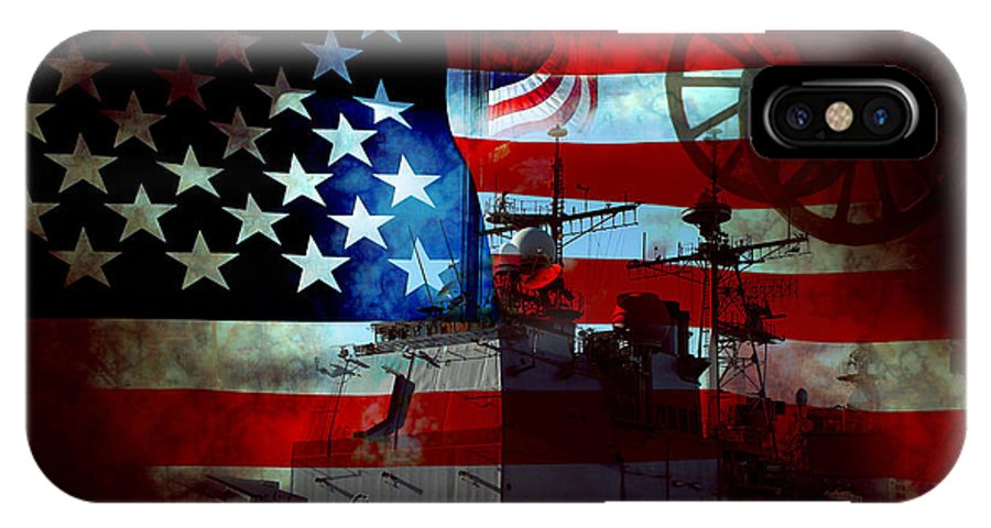 War IPhone X Case featuring the photograph Usa Patriot Flag And War by Phill Petrovic