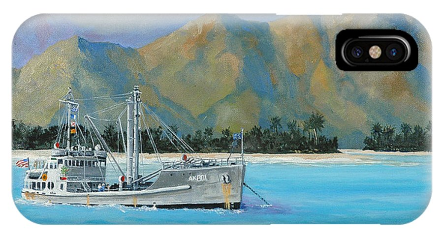 Seascape IPhone X Case featuring the painting Uss Reluctant Anchored Off Ennui by Glenn Secrest
