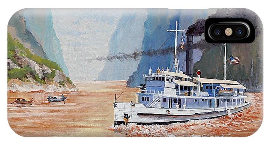 the Sand Pebbles IPhone Case featuring the painting Uss San Pablo On Yangtze River Patrol by Glenn Secrest