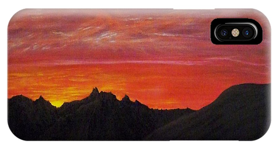 Sunset IPhone X Case featuring the painting Utah Sunset by Michael Cuozzo