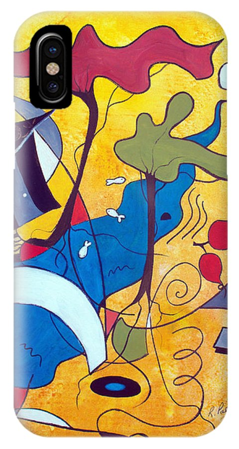 Abstract IPhone X Case featuring the painting Vacation Home by Ruth Palmer