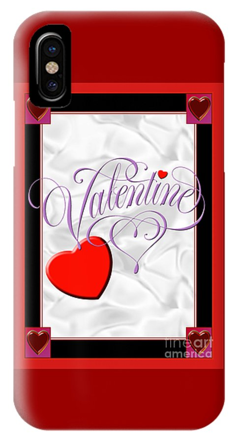 Valentine Card IPhone X Case featuring the digital art Valentine Script by Melissa A Benson