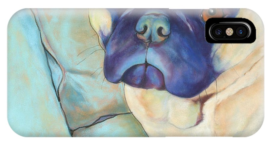 Pug IPhone Case featuring the pastel Valentino by Pat Saunders-White