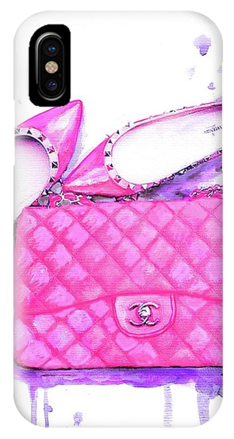 ae3e1c48fa6a Valentino Shoes And Chanel Bag Pink IPhone X Case for Sale by Del Art