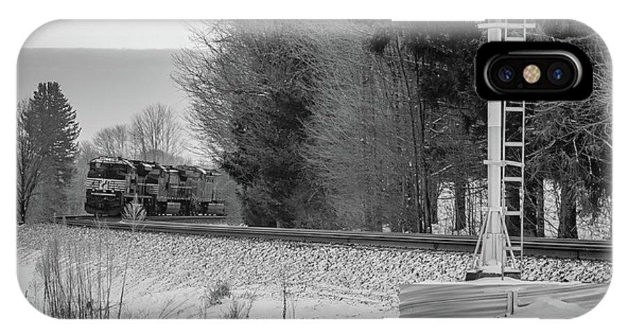 Train Rail Railway Railroad Locomotive Cargo Freight Pennsylvania Snow Winter IPhone X Case featuring the photograph Valley Express by Darren Walker