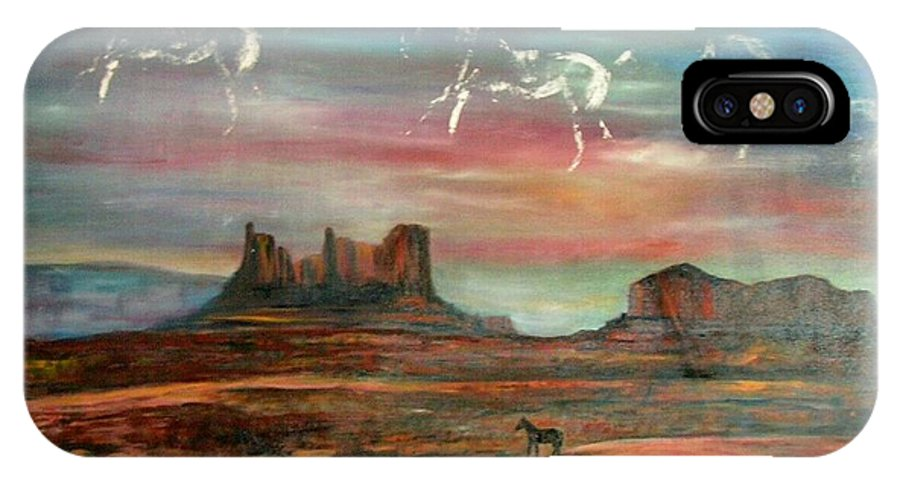 Landscape IPhone X Case featuring the painting Valley Of The Horses by Darla Joy Johnson
