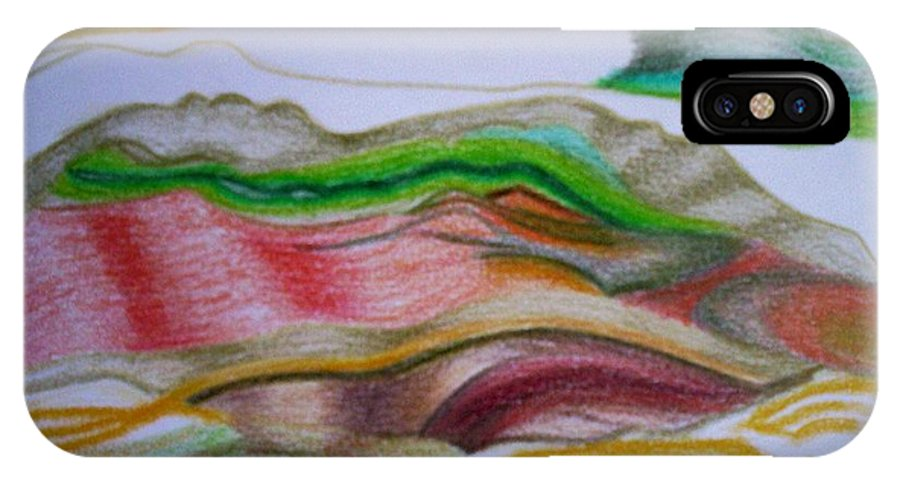 Abstract IPhone X Case featuring the painting Valley Stream by Suzanne Udell Levinger