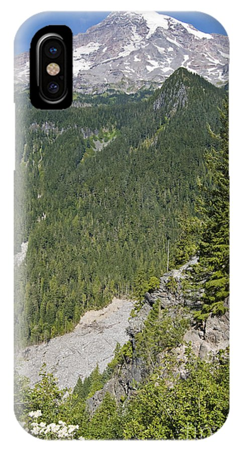 Mt. Rainier IPhone X Case featuring the photograph Valley View of Mt. Rainier by Larry Keahey
