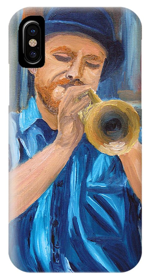 Musician IPhone X Case featuring the painting Van Gogh Plays The Trumpet by Michael Lee