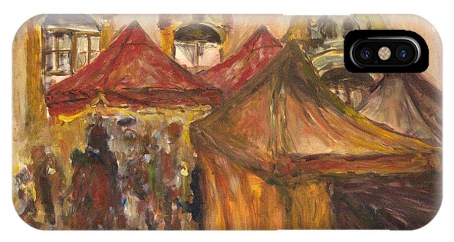 Landscape IPhone X Case featuring the painting Vanocni Trh by Pablo de Choros