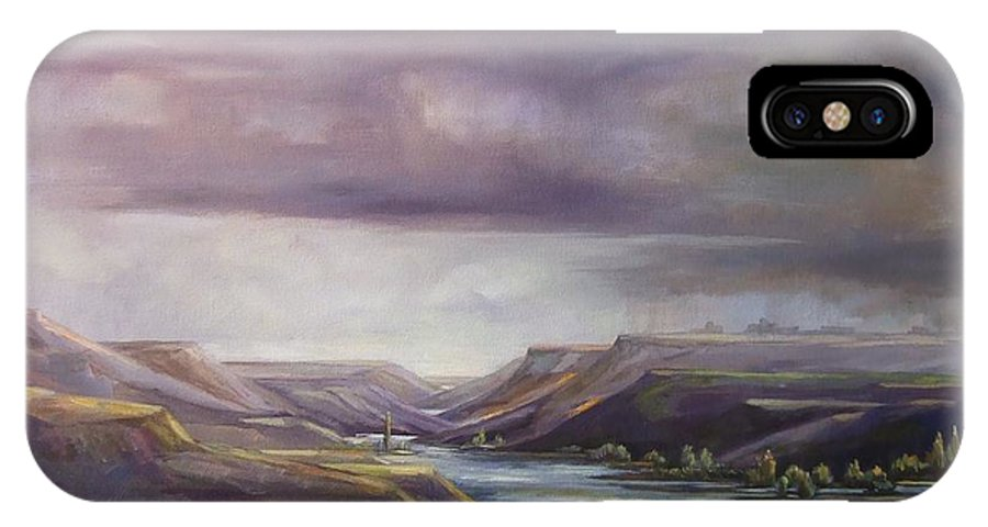 Landscape Water Mountains Sky Trees IPhone Case featuring the painting Vantage Vista by Ruth Stromswold
