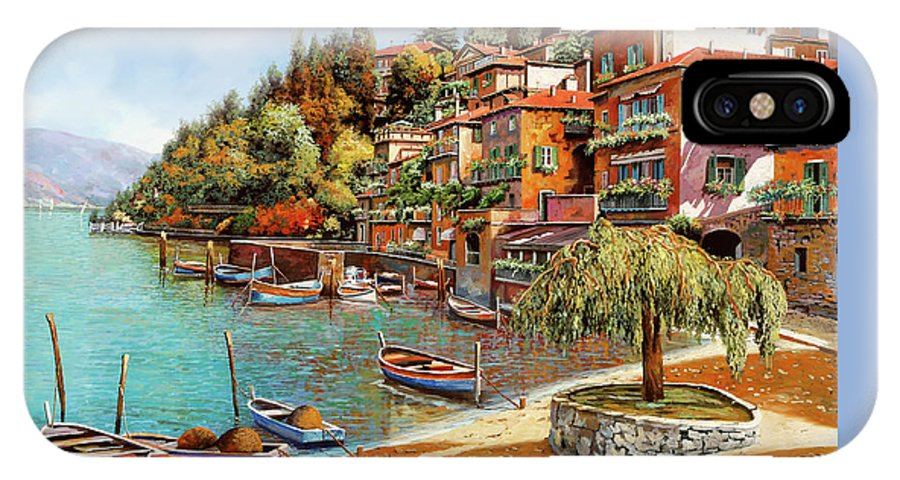 Lake Como IPhone X Case featuring the painting Varenna On Lake Como by Guido Borelli