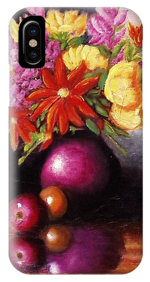 Still Life IPhone X Case featuring the painting Vase With Flowers by Gene Gregory