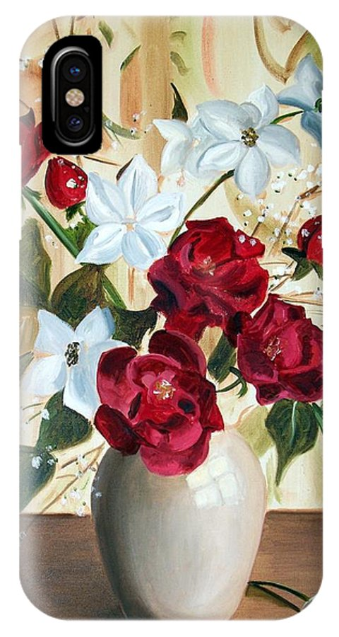 Art IPhone X Case featuring the painting Vase with Red and White Flowers by RB McGrath
