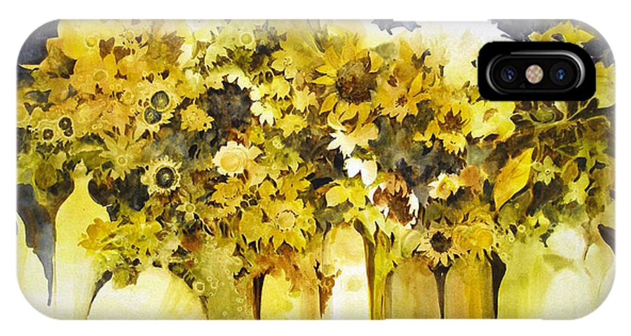 Yellow Flowers;sunflowers;vases;floral;contemporary Floral; IPhone X Case featuring the painting Vases Full Of Blooms  by Lois Mountz