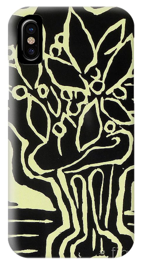 Woodcut IPhone X Case featuring the drawing Vasum Yellow by Phillip Castaldi