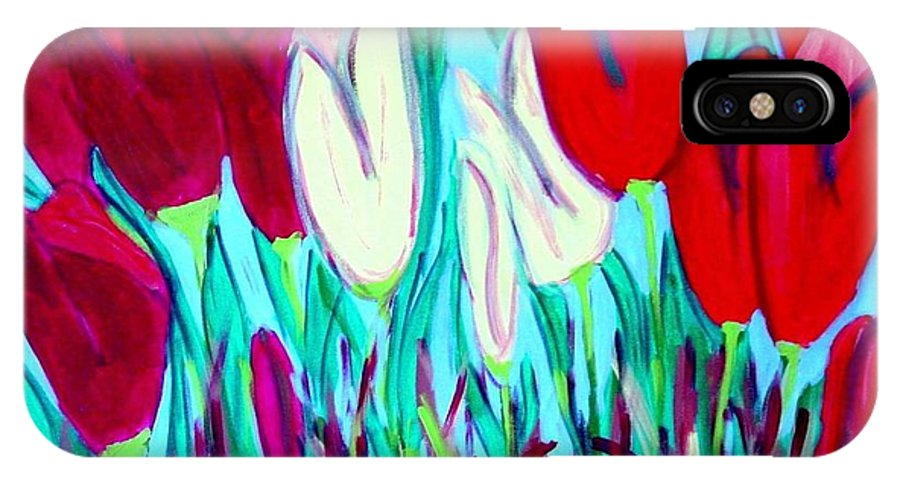 Tulips IPhone X Case featuring the painting Velvet Tulips by Laurie Morgan