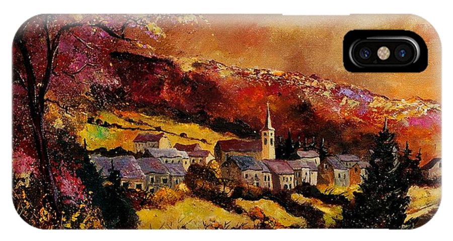 River IPhone X Case featuring the painting Vencimont Village Ardennes by Pol Ledent