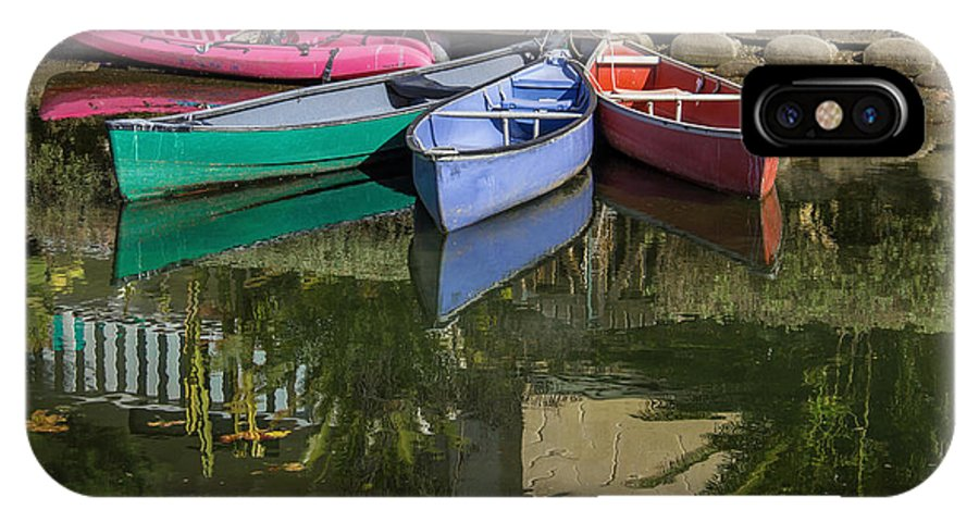 Boats IPhone X Case featuring the photograph Venice Canal Reflections by Roslyn Wilkins