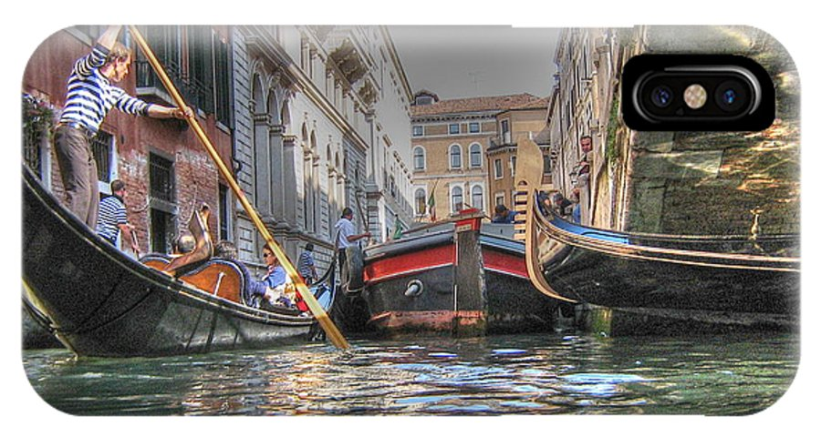 City IPhone X Case featuring the pyrography Venice Channelsss by Yury Bashkin